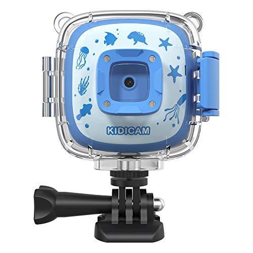 Dragon Touch Kids Camera Kidicam 1080P Action Camera 100 feet Waterproof Camera Blue