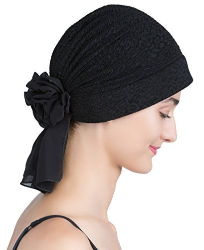 Deresina Headwear Deresina Brokat Kopftuch Mit Georgette fur Haarverlust (Schwarz)