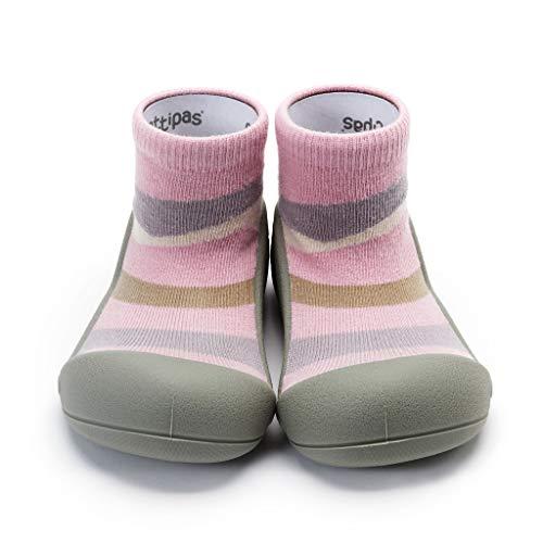 [Attipas] アティパス ベビーシューズュ [タウン] 洗濯機 丸洗いOK 靴下セット かわいいベビーシューズ 滑り止め ラバー 出産祝い プレゼント あんよの練習 保育園靴 ソックスシューズ プレシューズ 室内履き 11.5 ピンク