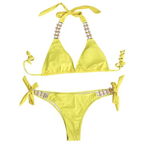 Maillot De Bain Femme 2 Pieces Échancré Push Up Sexy Triangle String à Lacet Bikini avec Strass Chic Été Plage Tankini Bustier Pas Cher A La Mode Tendance