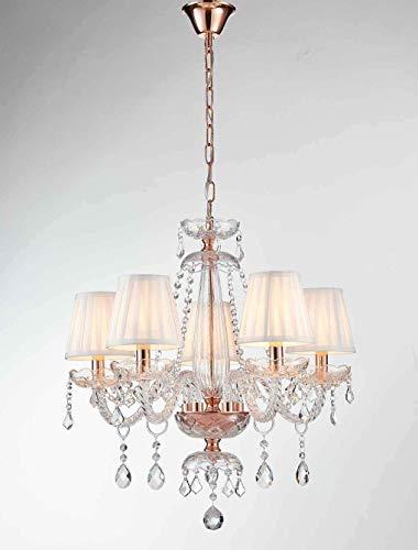 Saint Mossi Moderne Kristallglas Kronleuchter Beleuchtung Deckenleuchter Lampe 5 Arme mit E14 Sockel Rose Gold Finish Stoffschirme - 4