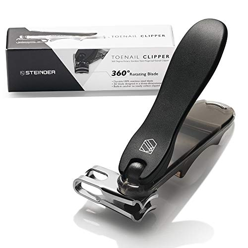 Toenail clippers Steinder EASY Nail clippers Self Pedicure tool & Easy Grip Rotary Swivel Head for ingrown Toe nail,EZ grip & Effortless 360 Degree Rotary Blade & Nail Catcher Design