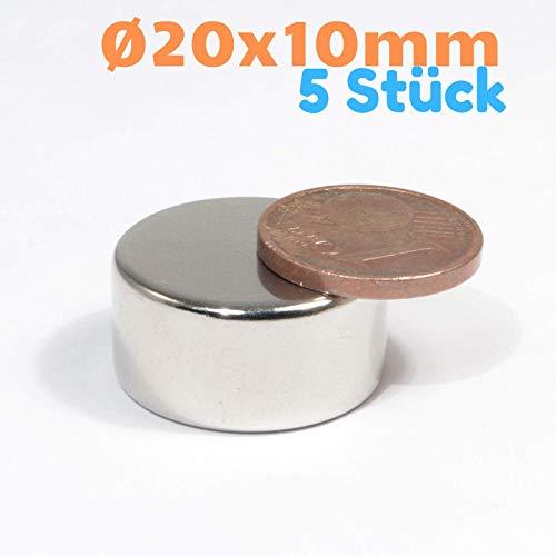 Neodym Magnet N52 Scheibe 13KG - Super Flache Magnetscheibe 20mm Durchmesser - 20x10mm Neodym Magnete Runde Scheiben [5 Stück]