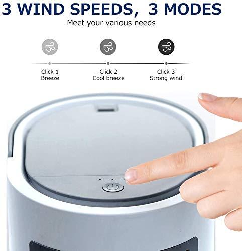 Woodtree Tragbare Klimaanlage, Mini Personal Space Luftkühler, Luftbefeuchter, Kühl Desktop-Lüfter mit 3 Geschwindigkeiten for Haus Zimmer Büro