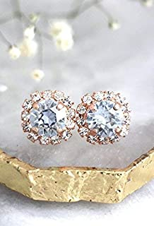 Bridal Gold Dusty Blue and White Halo Stud Earrings, Unique Swarovski Crystal Wedding and Party Jewelry, Handmade Bridesmaids Gifts