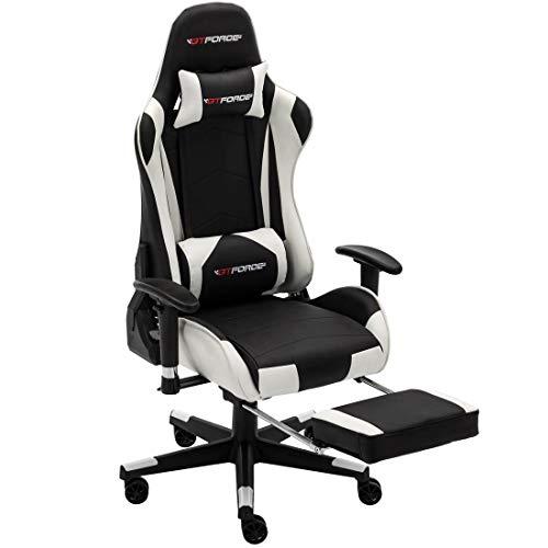 GTFORCE PRO FX - Gaming-Stuhl für E-Sport und Rennspiele - PC-Stuhl für das Büro - Liegepositionen - Kunstleder (Weiß mit Fußstützen)