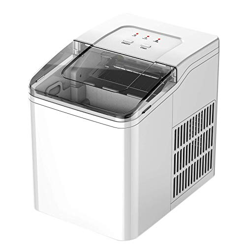 Ice Maker Machine for Countertop, Compact Portable Sonic Ice Maker, Ice Cubes Ready In 8 Mins, 26 Lbs In 24 Hours, Electric Ice Maker With Ice Scoop and Basket, for Home/Office/Kitchen/Bar/Parties