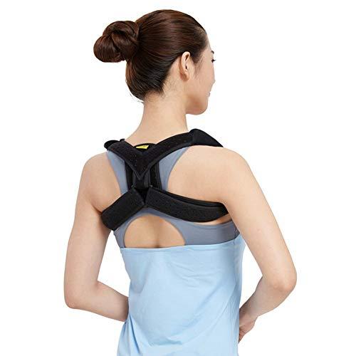 Enderezar la Postura Corrector Hombro Fractura Soporte de clavícula Vendaje para Mujeres Hombro Ajustable Espinal Apoyo Soporte de clavícula Corrección de la Espalda (Color : Black, Size : L)