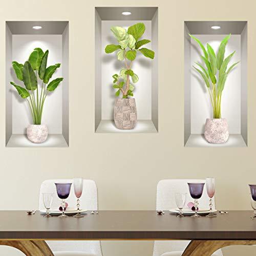 Stickers muraux Chambre Adulte - Adhesif Mural Effet 3D   Sticker Mural - Autocollant Mural Bananiers - Stickers Muraux Cuisine - Décoration Murale Trompe l'œil Salon - 3 Autocollants Muraux 60x30cm