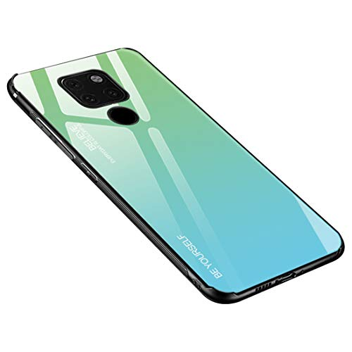 Desconocido Funda para Huawei Mate 20 / Mate 20X / Mate 20 Lite/Mate 20 Pro, Borde de Silicona TPU Suave Vidrio Templado Cubierta Trasera Carcasa a los Arañazos (Huawei Mate 20, Verde + Azul)