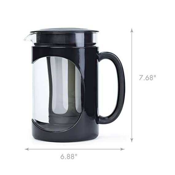Iced Coffee Maker, Comfort Grip Handle, Durable Glass Carafe, Removable Mesh Filter, Perfect 6 Cup Size, Dishwasher Safe… 6 BETTER BREWING - Enjoy smooth, delicious cold brew coffee at home. Also great for iced tea and infused beverages. The high quality keeps your beverage fresh for days! EASY-TO-USE - Brew, store and serve all in one. A simple four step process: 1) Simply add coffee grounds to brew filter, 2) Pour cold water over coffee, 3) Brew in the refrigerator overnight 4) Serve and enjoy! INNOVATIVE DESIGN - Made of temperature safe borosilicate glass with a durable protective holder and comfortable grip handle. Specially designed lid seals in freshness for days and provides a smooth, drip-free pour. Fine mesh coffee filter keeps grounds out of your coffee. Non-slip silicone base protects the glass from accidental slips.