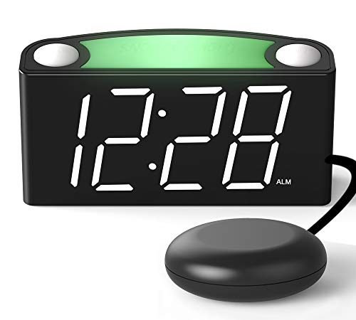 Loud Alarm Clock for Heavy Sleepers Shaking Alarm Clock, Alarm Clock for Bedrooms,Large Digital Alarm Clock, Large Display with Dimmer,7 Colored LED Light Bed Digital Clock for Heavy Sleeper,Elderly