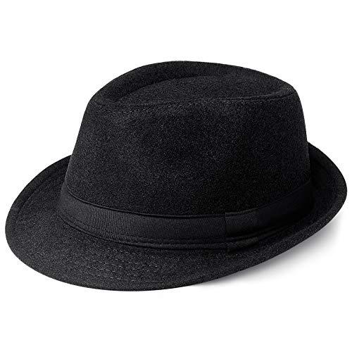 Coucoland Panama Hut Mafia Gangster Herren Fedora Trilby Bogart Hut Herren 1920s Gatsby Kostüm Accessoires (Filz Schwarz)