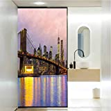 Vinilo adhesivo para ventana, diseño moderno de amanecer en Manhattan con drama, película de cristal para el baño y la reunión de sala de estar, 35.4 x 78.7 pulgadas