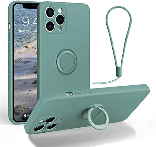 Funda para iPhone 12 Pro Max con soporte de anillo de 360°, soporte de cuerpo completo, absorción de golpes, carcasa de goma de silicona con correa de mano, soporte para coche (bosque oscuro)