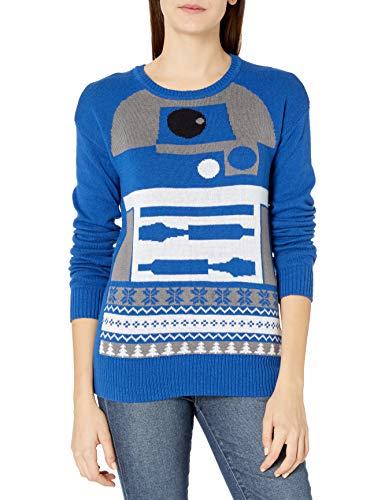 Star Wars Women's Ugly Christmas Sweater, R2D2/Blue, Medium