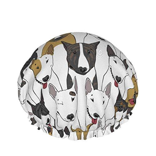 Gorro de ducha de doble capa impermeable, gorros de ducha I Love My Terrier Puppy Bulldog para mujer, gorro de ducha de doble capa impe