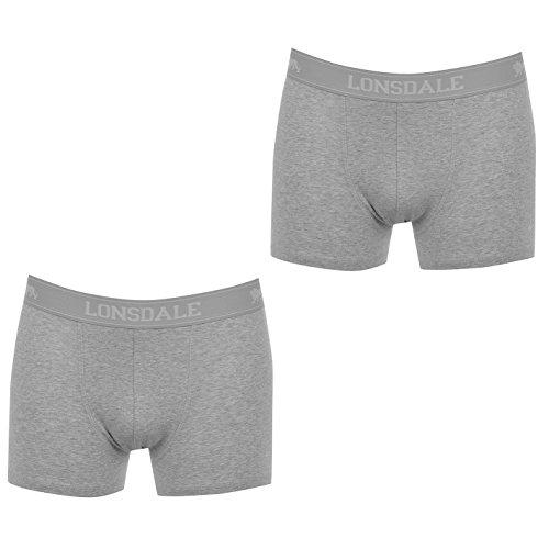 Lonsdale Herren 2 Paar Hipsters Trunk Boxer Shorts Unterhose Unterwaesche Grau Medium