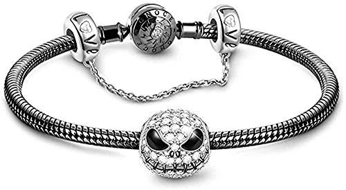 SKYUXUAN Pulsera negra de plata de ley 925 con cadena de serpiente con abalorio de cráneo de cadena de seguridad con cierre de 21 cm