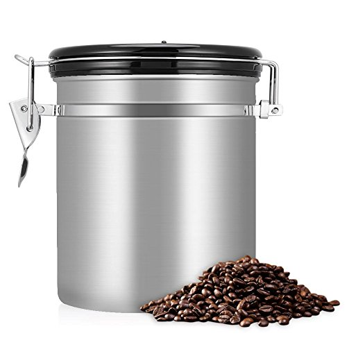 Stainless Steel Coffee Canister - Large - Keep Your Best Coffee Beans and Grounds Fresh for Months, 1.5L Airtight Coffee Beans Container Storage Canister Can(Silver)