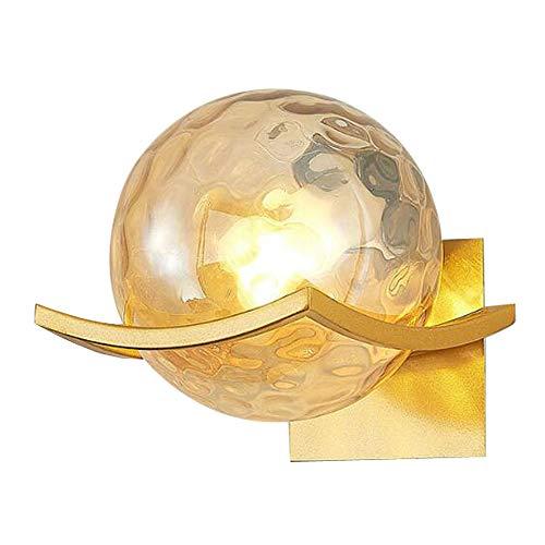 MG REAL Wandleuchte Moderne Minimalistische Wandleuchte Kugel Glaswandlampe Schlafzimmer Nachtwandleuchte Goldene Base in Wohnzimmer, Schlafzimmer,A