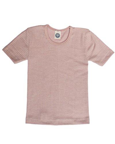 Cosilana, Kinder Unterhemd Kurzarm, 45% KBA Baumwolle, 35% kbT Wolle, 20% Seide (92, Pink meliert)