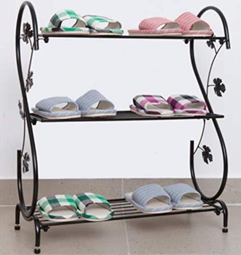 Tres capas de almacenamiento titular de metal retro zapatero estante de zapatos sala de estar almacenamiento estantería-Negro, M