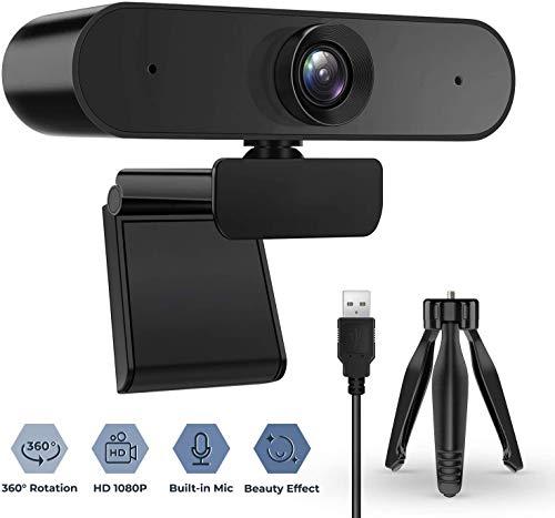 BENEWY Webcam mit Mikrofon, 1080P HD-Webcam Desktop oder Laptop, Streaming-Webcam für Computer-Breitbild-Videoanrufe und -Aufzeichnungen, USB-Webkamera Eingebautes Mikrofon, Flexibler drehbarer Clip