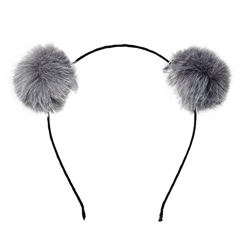 Mwfus Girls Adorable Fur Ball Pompom Ball Hair Hoops Headbands Grey