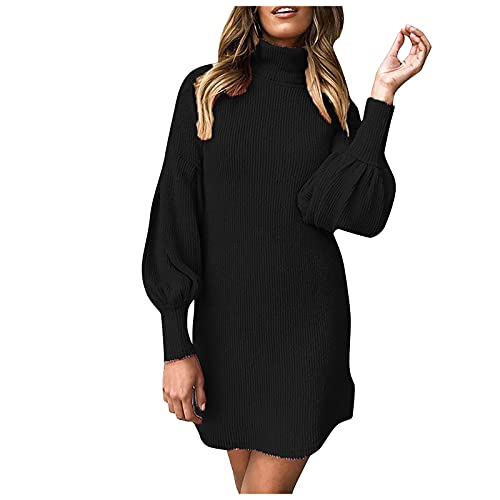 MINEMIN Long Sleeve Dress for Woman High Neck Thread Solid Color Fashion Casual Knee Length Hip Dresses Black