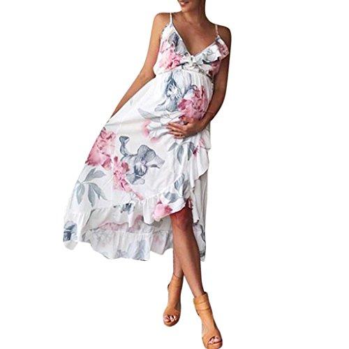 URSING_Damen Umstandskleid Beiläufig Blumen Falbala Schwangerschaft Kleid Umstandskleidung Freizeitkleid Sommerkleid Stillkleid Schöne Kleider Ärmellos Blumenmuster Trägerkleid (M, Weiß)