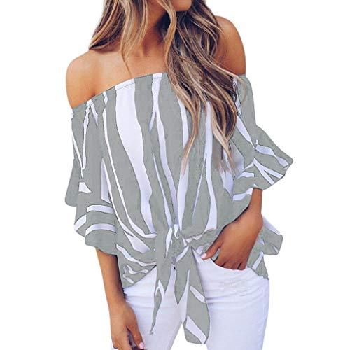 JURTEE Camisas Mujer, Sexy Hombros Descubiertos Rayas Camiseta De Ruffle Manga Corta Blusas Dobladillo Anudado Tops Elegante Fiesta Blusa