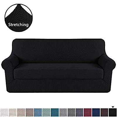 H.VERSAILTEX Sofa Cover 2 Piece Stretch Couch Covers for 3 Cushion Couch Sofa Slipcover Protector Cover with Individual Seat Cushion Cover, Feature Small Checked Jacquard