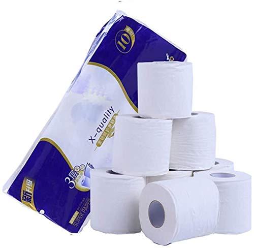 Wc-papier- Zacht Toiletpapier 10 rollen toiletpapier Grote rollen wc-papier Badkamer Wit 3 lagen Standard Rolpapier Fiber Grote rollen wc-papier