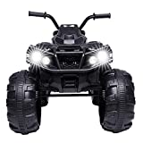 JOYMOR Ride on ATV, Coolest 4 Wheeler Kids Quad 12V Battery Powered Electric ATV Realistic Toy Car with 2 Speeds, Easy Button, Music, USB Port, Spring Suspension, LED Lights and Horns (Black)