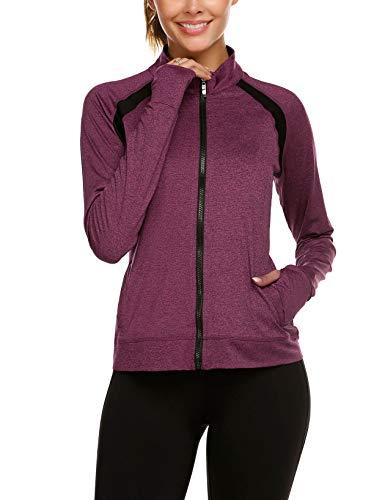 Parabler Laufjacke Damen Sportjacke Trainingsjacke voll Reißverschluss Trainingsanzug mit Daumenloch und Seitentasche Fitness Weinrot rot M