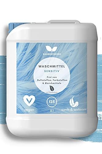 Sauberfreude sensitiv Waschmittel - 5 L nachhaltiges Vollwaschmittel - Baby Waschmittel mit pflanzenbasierten Inhaltsstoffen für Allergiker & Babys - biologisch abbaubar - (125 Wäschen)