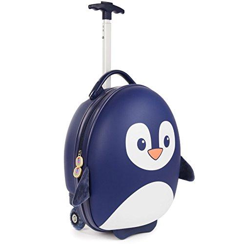 boppi Tiny Trekker trolley per bambini bagaglio a mano trolley con maniglia trolley leggero con ruote valigia a mano 17 litri - Pinguino Blu