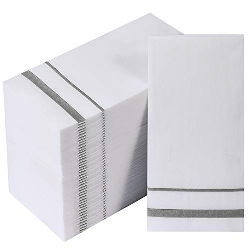 [200 Pack] Disposable Guest Towels Linen-Feel Paper Hand Towels, Decorative Bathroom Hand Napkins for Kitchen, Parties, Weddings, Dinners or Events, White and Silver