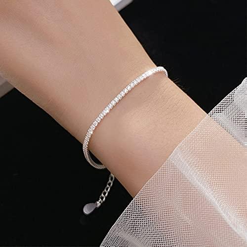 MTTN Trustdavis Genuine 925 Sterling Silver Temperament Sweet Choker Dazzling CZ Short Necklace For Women Wedding Jewelry Gift DS1869 (Gem Color: Silver Bracelet)