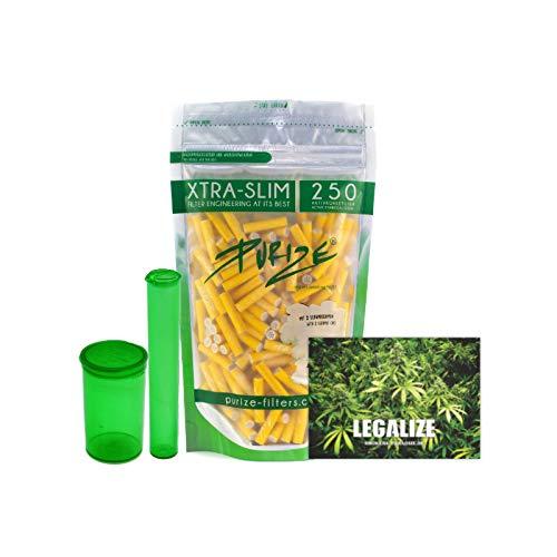 PURIZE 250 Stück Xtra Slim Size 6mm (5,9mm) Aktivkohlefilter mit 2 Keramikkappen inkl. Joint Tube, PopUp Döschen und Sticker - Farbe wählbar (Gelb)