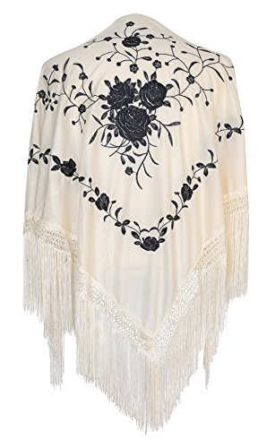 La Señorita Mantones bordados Flamenco Manton de Manila blanco negro