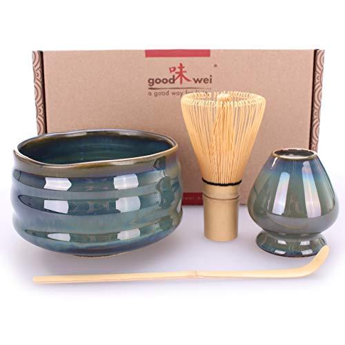 Goodwei Premium Matcha Tea Set - Ceremonial Bowl Chawan, Whisk and Holder + Gift Box (Menouseki, 80)