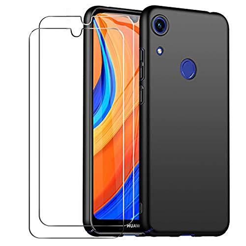 cookaR für Huawei Y6s Hart Hülle, Handyhülle mit Panzerglas 2 Pack Ultra-Dünn Schutzhülle,Stoßfeste Kratzfeste Ganzkörper Cover Schutzfolie für Huawei Y6s Smartphone,Schwarz