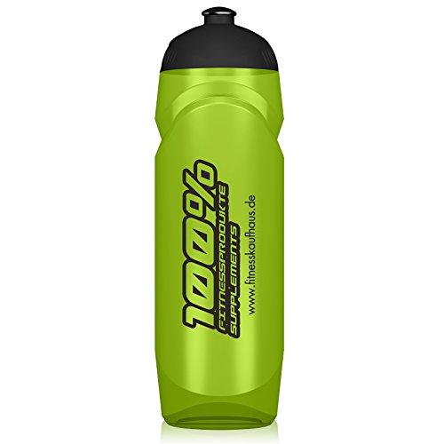 100% Fitness Trinkflasche, 750ml Grün Transparent/Schwarz, Stylish Fitnesskaufhaus