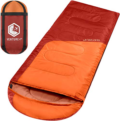 Summer Sleeping Bag, Single, Regular Size - Lightweight, Comfortable, Water Resistant Backpacking Sleeping Bag for Adults & Kids - Ideal for Hiking, Camping & Outdoor Adventures – Orange/Red
