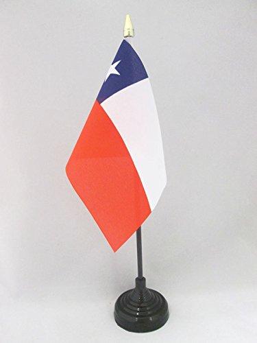 AZ FLAG TISCHFLAGGE Chile 15x10cm goldene splitze - CHILENISCHE TISCHFAHNE 10 x 15 cm - flaggen