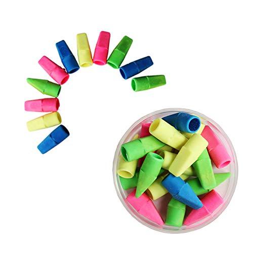 100 pcs Gomas de borrar lápiz lápiz borradores Cap Gomas de borrar goma de borrar las tapas del borrador de lápiz primeros gomas de borrar Escuela para niños útiles escolares para maestros