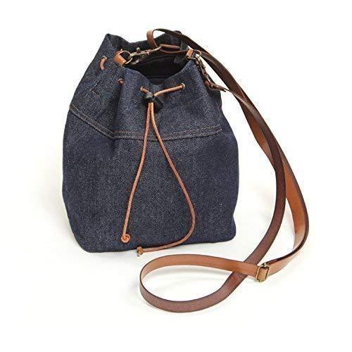 Bolso bombonera en tejido vaquero - Bolso de mujer pequeño - Azul marino - BLUE JEANS
