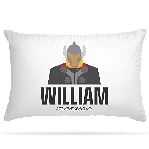 Personalised Pillow Case 15 Different Superhero Any Name Print Gift for Kids Bedroom Decoration Boys and Girls (Thor)